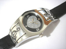 Silver Tone Metal Case Leather Band Baby Phat Ladies Watch Item 3959