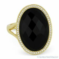 Cocktail Ring in 14k Yellow Gold 7.03 ct Checkerboard Onyx & Diamond Right-Hand