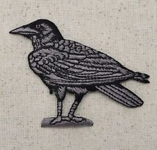Iron On Embroidered Applique Patch Bird/Crow Black/Gray RAVEN Facing LEFT