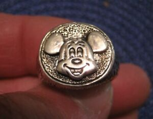 Mickey Mouse Mens Sterling Ring Size 9