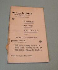 1894 Otto Pfefferkorn Armour Institute Piano Recital Concert Program Chicago IL