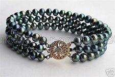 "Akoya Cultured Pearl Bracelet 7.5"" 3 Rows Wedding 7-8Mm Black"