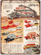 "1962 Buddy L Heavy Gauge Steel Car Carrier Toy Ad Metal Sign Repro 9x12"" 60273"