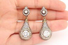 Turkish Handmade Diamond Style Jewelry Round Topaz 925 Sterling Silver Earrings