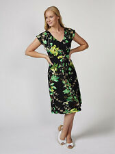 Joe Browns Perfection Dress Size UK 8 BLACK/GREEN Pleat Chest Detailing