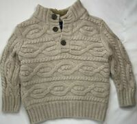 Gap Boys 4-5 Beige Cable Knit Cotton Wool Blend Sweater with Faux Fur Collar