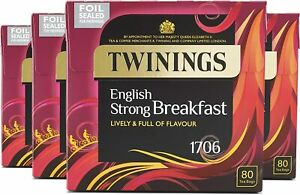 Twinings English Strong Breakfast Tea 160 to 320 Teabags - Pack 2 x 80 or 4 x 80