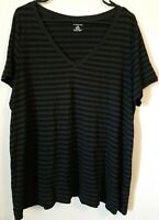 Lands' End Women's Plus 2X (20w-22w) Black Striped V-neck Short Sleeve Shirt.