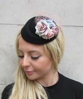 Black Blush Light Pink Blue Floral Flower Pillbox Hat Hair Fascinator Clip 6390