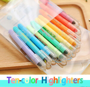 Korean Solid Highlighter 10 Colors Stationery Bright Colour Gel Stick Crayon