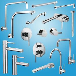 Round Kitchen Laundry Basin Mixer Shower Valve Sink Tap Wall Arm Bath Tub Spout