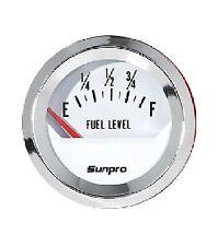 Sunpro 2 Fuel Level Gauge And Sending Unit White Chrome Bezel Cp8209 Cp7591