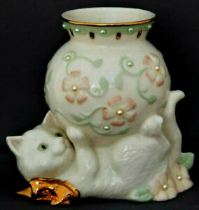 Vintage Lenox Cat Kitten Kitty Ceramic Porcelain Vase Figurine Pearls Flowers