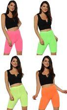 Womens Neon Polyester High Waist,1/2 Length Dance Cycling Shorts Uk Size 6-26