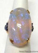 Huge Natural Opal Natural Sapphire 14k Gold Most Massive Retro Deco Ring Ever