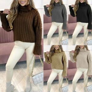 Women's Ladies Polo Roll Neck Cable Fine Knitted Winter Crop Jumper Top 8-14