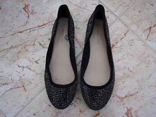 NEW LOOK Ladies Black Silver Stud Ballerinas / Pump size 5 UK - 38 EU.