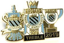 Manchester City Pin Badge Treble 2019 Winners Cup League Champions of England