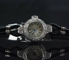 Elegant Woman's Antique Platinum & Diamond Bucherer Engraved ladies Watch
