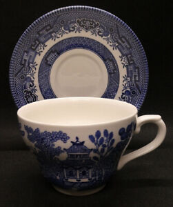 Churchill Blue Willow Duo of Cup and Saucer