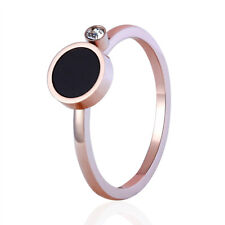 Statement Rose Gold Plated Cocktail Ring Round Black Shell Tiny Rhinestone