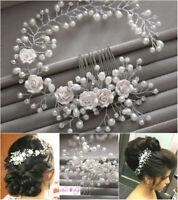 Braut Hochzeit Perlen Haarschmuck Kette Blüte Blume Diadem Haargesteck
