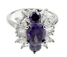 Antique 18K Amethyst White Gold Filled Ring Wedding Jewelry for Women 7# di