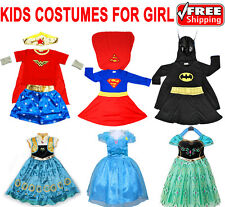 NEW SIZE 1-12 KIDS COSTUMES GIRLS DRESS UP PARTY SUPERHERO DISNEY TODDLER CHILD