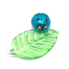 Ladybug and leaves Miniature Blown Glass Animal Souvenir Figurine Handcraft.