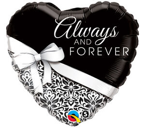 """Heart Shape Always and Forever 18"""" Foil Balloon Wedding Anniversary Party 5 Pack"""