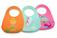 Silicone Bibs for Babies (3 Pk), BPA Free, w/Mermaid, Unicorn & Fairy Designs