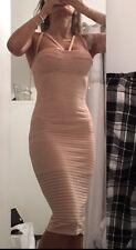 BNWT Ladies Nude Pink Boutique Strappy Harness Dress Bodycon Rib Size 8 Wedding