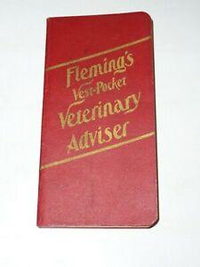 Antique Vintage Fleming's Vest Pocket Veterinary Adviser Farm Book 1909