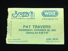 Pat Travers Signed *Boom Boom* 1983 Brassy'S Cocoa Beach, Fla Concert Ticket