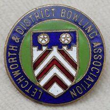 Vintage Letchworth & District Bowling Association Enamel Pin Badge