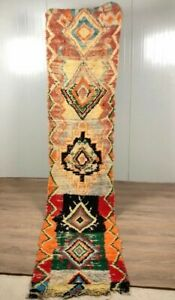 Vintage Boucherouite Rug - Runner - handwoven. 326 x 71