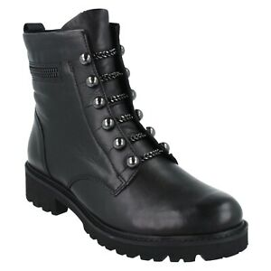 LADIES D8670 REMONTE LEATHER CASUAL ZIP FLEECE LINED MILITARY STYLE BOOTS SIZE