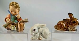 """Goebel W Germany Hummel  """"""""Thoughtful Boy"""" #415 Brown And White Bunnies"""