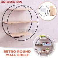 "3 Tiers 19.7"" Round Floating Wooden Wall Shelf Wood Shelves Hanging Storage Rack"