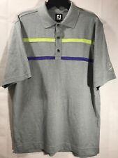 Footjoy Golf S/S Polo Shirt Medium Gray Purple Green EUC FJ Gulf Coast Air