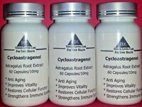 TLC TELOMERE LENGTHENING CYCLOASTRAGENOL  10 mg - 60 Caps - 99.3% Pure - 3 PACK