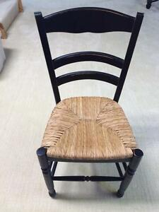 Black Distressed Wooden Ladder Chair with Rush Seat