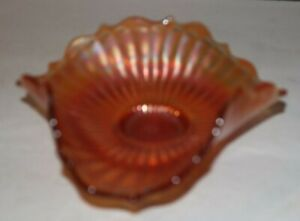 VINTAGE 6-INCH MARIGOLD CARNIVAL BOWL RUFFLED SCALLOPED EDGE MINT CONDITION