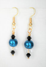 Teal blue 8mm glass pearl clear and black glass bead earrings 4.25 cm gold tone