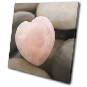 Heart Stone Pebble Love Pink Bathroom SINGLE CANVAS WALL ART Picture Print