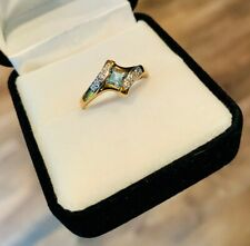 9 Carat Yellow & White Gold Ring with Princess Cut Aquamarine & Diamonds