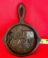 Miniature Vintage Cast Iron Collector Frying Pan Horse And Carriage
