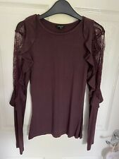 Womens River Island Long Sleeved Cotton Top Size 8