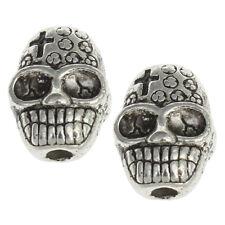 10 Schädel Totenkopf Perlen 10mm Silber Metallperlen Spacer Zwischenperlen M446