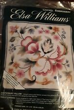 """Canterbury Pillow Crewel Embroidery Kit Elsa Williams Sealed Finished 12""""x12"""""""
